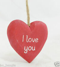 'I LOVE YOU' RED HEART SHAPED WOODEN SHABBY CHIC PLAQUE GREAT GIFT FOR VALENTINE