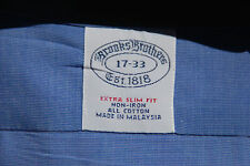 Brooks Bros 17/33 Extra Slim Fit French Blue Non-Iron Cotton French Cuff Shirt