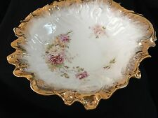 "C T Germany C Tielsch & Co 10"" Bowl Rose and Gold Gilt Decor"