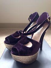 H by Halston NEW 'Adele' Purple Tone Velvet Glitter Strap Open Toe Heels Sz 7.5