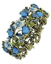7f Brass Vintage Look Blue Crystal Flower Bangle Stretch Bracelet