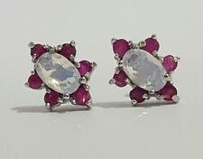 100% Genuine 925 Sterling Silver Opal & Ruby Ear stud Post Earrings
