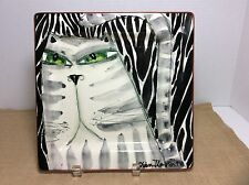 Hand Painted Ceramic Decorative Square Collector Plate ~ Cat Face ~ Signed Piece