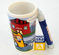 MUG FOR SCHOOL BUS DRIVER or TEACHER or CHILD KID CRAYON BLOCK HANDLE COFFE CUP