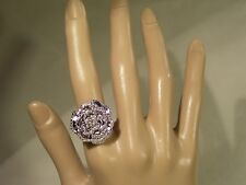 WOMEN'S .925 SILVER LARGE ROSE FLOWER RING SIZE 6