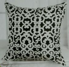 "Decorative Throw Pillow Cover 18"" x 18"" ~ Black with White Scroll Pattern"