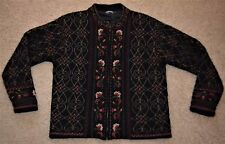 ICELANDIC DESIGN womens 100% wool embroidered Floral NORDIC lined sweater M