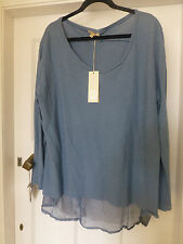 BNWT AMBRA AIRFORCE BLUE LONG SLEEVE TOP BACK DETAIL SIZE 3X 22
