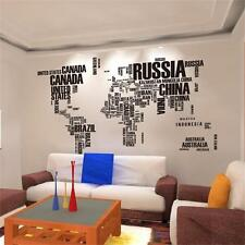 World Map in Words Removable Vinyl Wall Sticker Large Decal Mural Art Home Decor