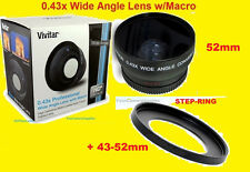 0.43x WIDE ANGLE LENS+STEP 43/52mm CANON EOS-M 22mm, VIXIA HF R60 R70 R600 R700