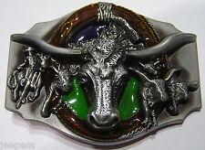 Western Cowboy Longhorn Bull Round Up Lasso Wrangler Belt Buckle Line Dancing 3D