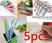 5 x Colorful Magic Bendy Flexible Soft Pencil + Eraser For Kids Writing New Hot