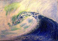 ACEO Original Art The Big Blue Wave Breaking Sea Ocean Curl Surf by LGarcia