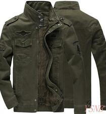 New Men's Winter Warm Denim Quilted Padded Coat  Fight Military Jacket Plus Sz