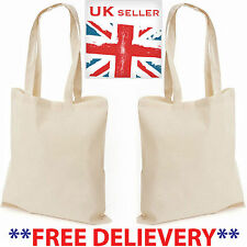 50 Eco 100% Cotton Plain Promotional Shoulder Canvas Shopper Tote Bags Free P&P