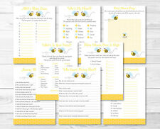Bumble Bee Yellow & Blue Baby Shower Games Pack - 8 Printable Games