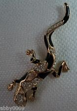 Christian Dior Gold Plated Pave' & Black Enameling Gecko Brooch Pin