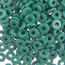8mm Greek Disk Beads 2.7mm Hole Teal Green G02 Disc Rondelle Spacer Ceramic