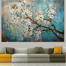 HandPaint Wall Art Picture Plum Blossom White Flower Tree Oil Painting On Canvas