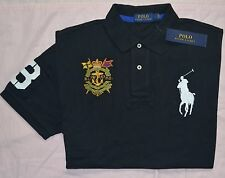New Large L POLO RALPH LAUREN Mens Big Pony Rugby shirt top short sleeve Black