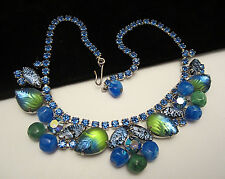 "Rare Vtg 15""x1-1/4"" Signed Weiss Green Blue Molded Art Glass Rhinestone Necklace"