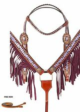 PURPLE WESTERN HORSE SHOW LEATHER BRIDLE HEADSTALL FRINGE BREAST COLLAR TACK