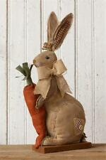 New Primitive Folk Art Burlap BUNNY RABBIT CARROT Easter Doll Shelf Sitter 19""