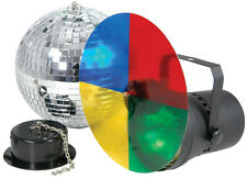 DISCO MIRROR BALL KIT WITH LAMP LIGHT SET 3 FILTERS AND MOTOR 20cm Diameter