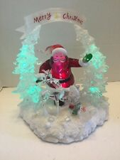 Santa Acrylic Ice Sculpture Green Lights Merry Christmas To All Reindeer Child