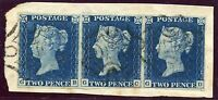 1840 2d deep blue pl. 1 strip of 3 GB/GD tied to piece by black Maltese cross