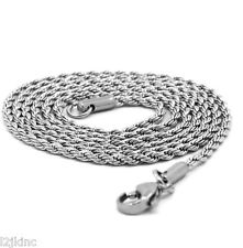"Men & Lady Stainless Steel 2mm French Rope Link Chain Necklace 30"" Inches"