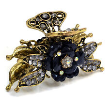Gold Floral Adorned Hair Clip with Black Stones