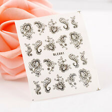 Black water transfer nail art sticker decal pattern decoration tool for nail tip