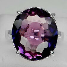 SURPRISING! BLUE- PURPLE~ BI COLOR AMETRINE OVAL 14.6CT. 925 SILVER RING SZ#7.5