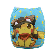 1 Baby Cloth Diaper Nappy Reusable Washable Pocket Microfleece Pokemon Lightning