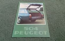1978 PEUGEOT 504 L GL famille Estate Essence & Diesel 8/77 - Brochure Couverture Vert