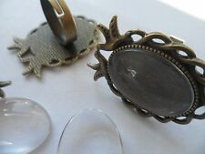 3 Vintage Bronze Bird Doves RING Making Kit, 18x25~Craft HOBBY Peace,Love Retro