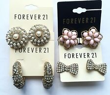 NWT Wholesale B lot 4 pairs Forever 21 rhinestone pearl bow floral stud earrings