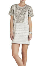 "$298 BCBG CANVAS COMBO ""ADA"" EMBROIDERED SEQUIN SHORT SLEEVE DRESS NWT XXS"