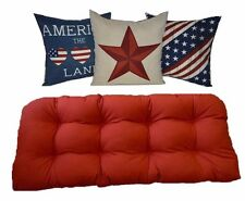 In / Outdoor Red Wicker Loveseat / Settee Cushion & Patriotic Pillows 4 pc Set