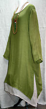 "Plus Size Linen & Cotton Dress 54"" Bust Double Layer Green & Beige Lagenlook BN"