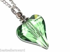 1pc Glass Heart pendant cremation urn ashes perfume bottle Screw cap NECKLACE GN