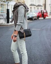 ISABEL MARANT POUR H&M white leather lace up skinny pants 6 36 BLOGGERS