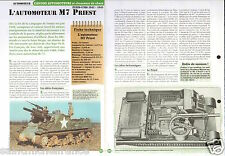 Self-propelled Automoteur M 7 Priest US Army USA WWII FICHE CHAR TANK