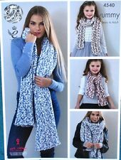 Ladies Childs Chunky Knit Easy Scarf Shawl Knitting Pattern - 4 years - Adult