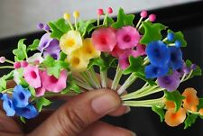10 Pcs Miniature Handmade Colorful Morning Glory Clay Flower Home Decorative
