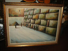 Vintage Jewish Painting Of Wailing Wall-Oil Painting On Canvas-Signed-Judaism