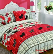 5pc SCOTTIE DOGS Tartan Black King Size Bed In A Bag Duvet Cover Bedding Set
