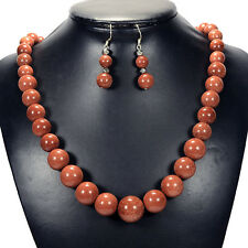 Vintage Goldstone Sterling Silver Necklace & Earrings Set Gemstone Jewellery UK
