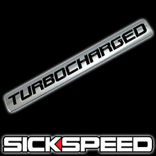 CHROME/BLACK METAL TURBOCHARGED ENGINE RACE MOTOR SWAP BADGE FOR TRUNK HOOD DOOR